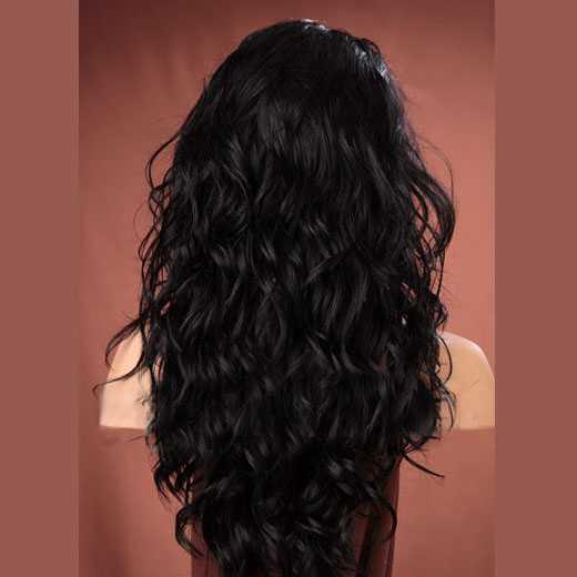 Pruik lang zwart haar met krullen model Gabby kleur 1b - Mooie pruiken ...