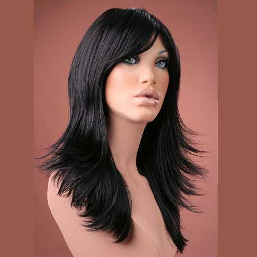 Pruik lang haar razor-cut zwart model Hannah - Mooie pruiken ...