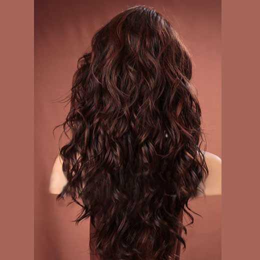 Pruik lang bruin haar met krullen model Gabby kleur F4-30 - Mooie ...