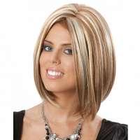 Luxe pruik bob model mix bruin en blond