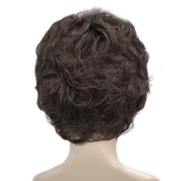 Moderne pruik kort krullend haar donkerbruin kleur 6