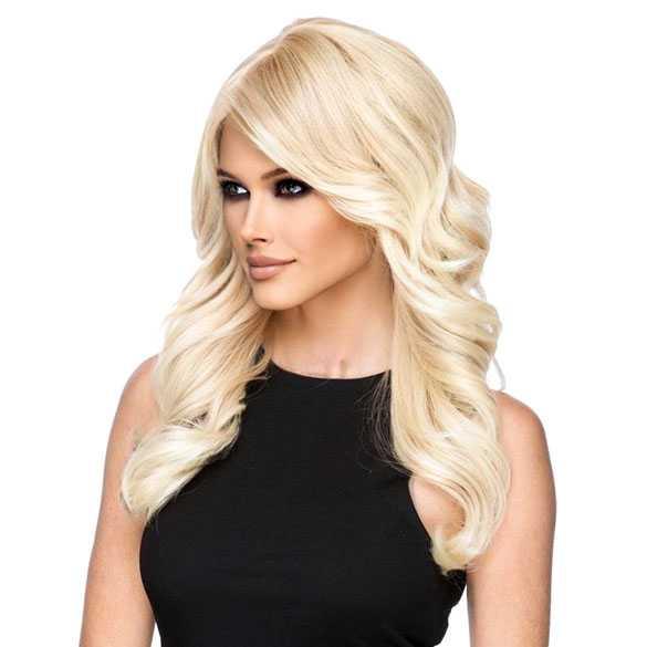 Pruik lichtblond lang haar met slagen model Phoenix