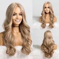 Pruik lang blond krullend haar zonder pony model 173