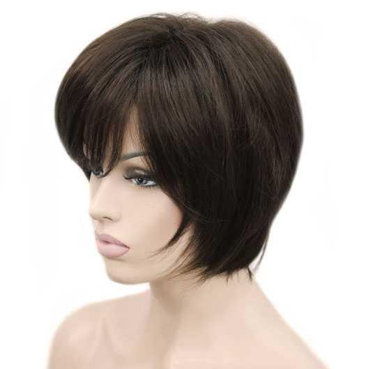 Eigentijdse pruik kort bruin haar in laagjes kleur 6