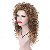 Pruik lang haar met volle krullen bruin blond mix