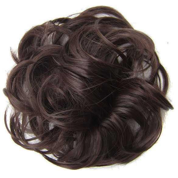 Haar scrunchie met elastiek medium bruin kleur 4
