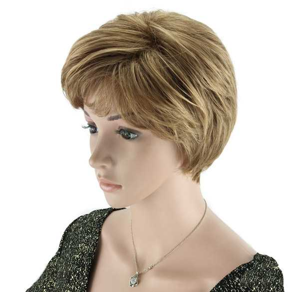 Moderne pruik kort model in laagjes blond caramel mix