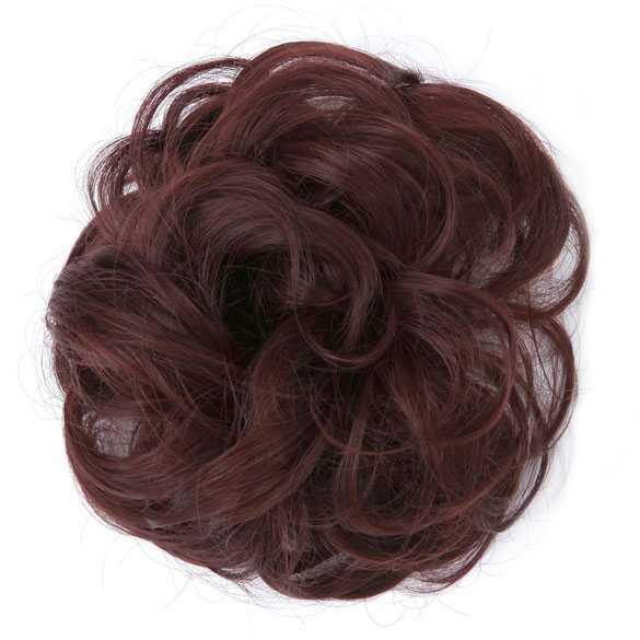 Haar scrunchie met elastiek donker roodbruin kleur 33