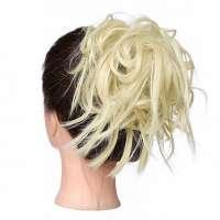 Warrige haar scrunchie met elastiek lichtblond kleur 613