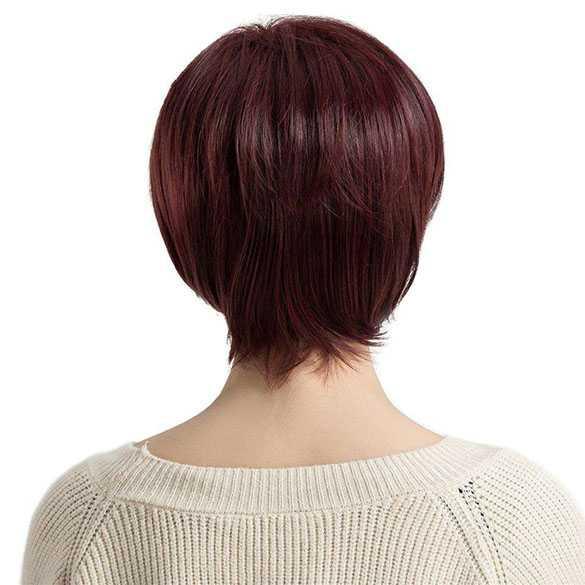 Pruik pittig kort pixie model in wijnrode kleur