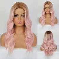 Pruik met pastel roze lang haar met grove slagen model 329
