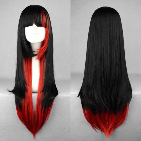 AANBIEDING : Gothic Halloween Vampier Carnaval pruik lang steil haar zwart rood