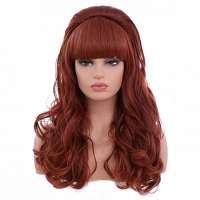 Pruik rood lang krullend haar model Peggy Bundy