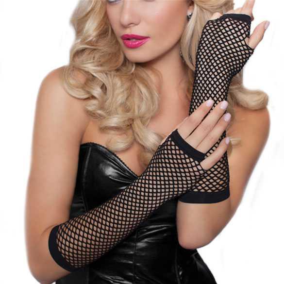 Gaas lingerie handschoenen zonder vingers zwart