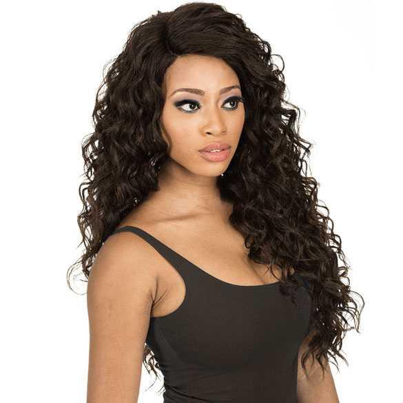 Lace front pruik lang bruin haar met krullen model MLC204