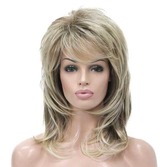 Fabulous Stoere pruik halflang haar in laagjes blondmix kleur R10-26 #LE47