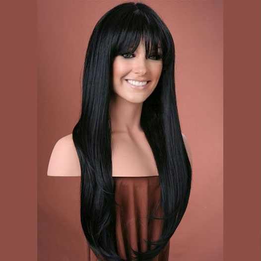 Pruik mix met echt haar lang zwart met pony model Trisha kleur 1b