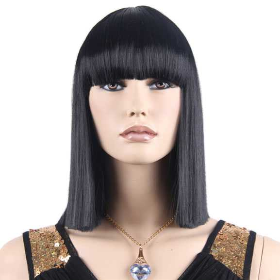 Carnaval pruik zwart steil haar model Cleopatra