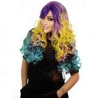Mooie volle carnaval pruik mixed colors lang met krullen