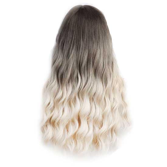 Ombre pruik lang golvend haar met kleurverloop bruin naar witblond