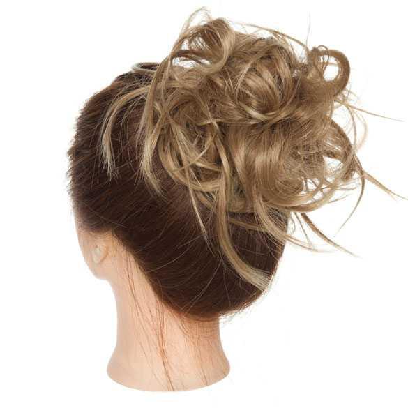 Warrige haar scrunchie met elastiek zandblond mix kleur 12H24