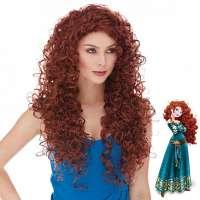 Merida pruik lang rood haar met spiraalkrullen model Butterfly