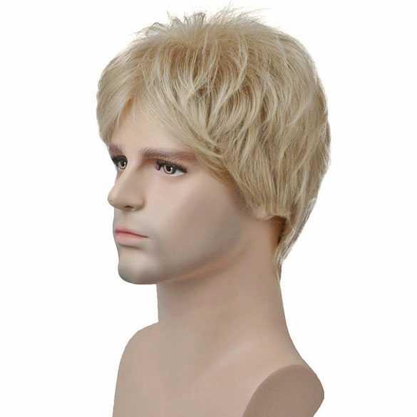 Mannenpruik kort model in laagjes blondmix kleur 15BT613