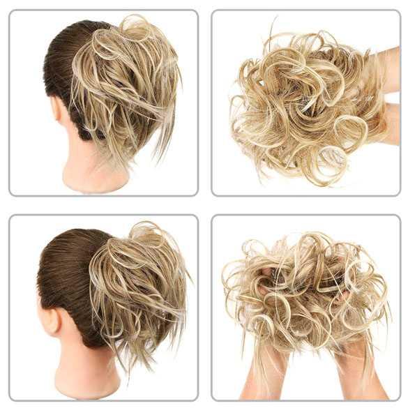 Warrige haar scrunchie met elastiek blondmix kleur 27-613