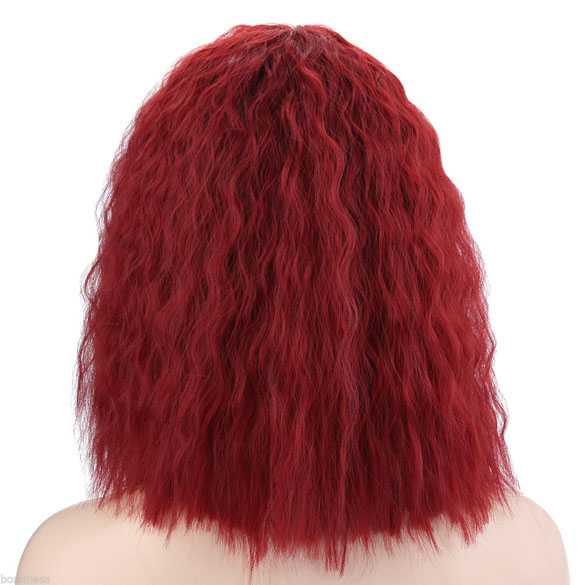 SALE : pruik schouderlang bob model rood haar met golfjes