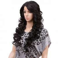 SALE : Freetress pruik lang zwart haar zonder pony model Sabella 1b