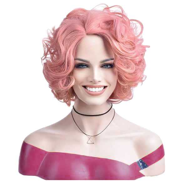 Pruik roze kort krullend haar mooi volume
