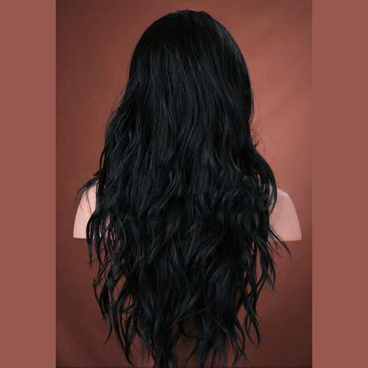 Weelderige pruik lang zwart haar model Cala