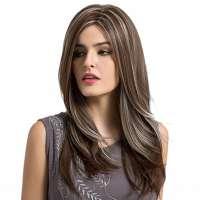 Pruik lang steil haar met highlights model Tamara