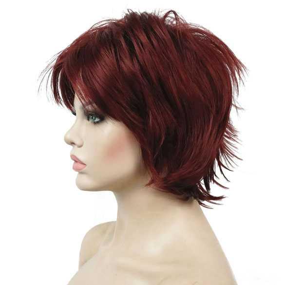 Moderne pruik rood kort haar met plukjes kleur 131