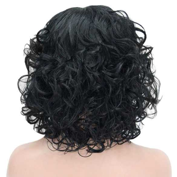 Pruik schouderlang krullend haar kleur zwart
