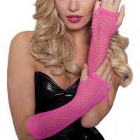 Gaas lingerie handschoenen zonder vingers fel roze