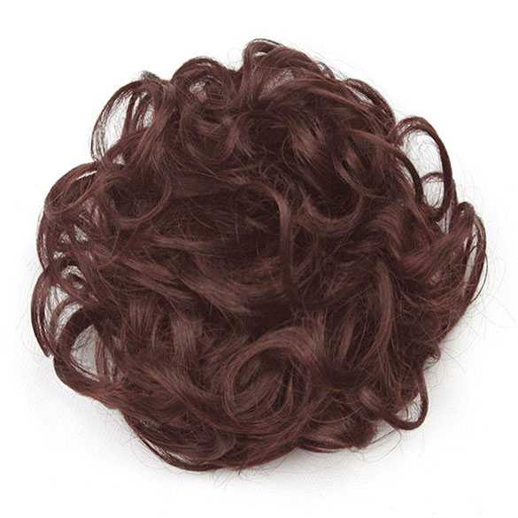 Haar scrunchie met elastiek kastanje roodbruin kleur 33