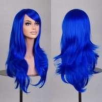 Carnaval pruik saffierblauw lang haar in laagjes