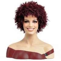 Pruik kort wijnrood kinky haar afro kroes spiraalkrullen