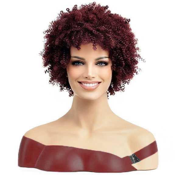 Pruik kort wijnrood funky haar afro kroes spiraalkrullen