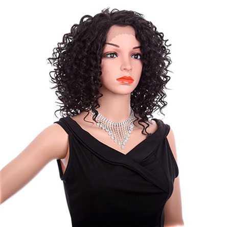 Lace front pruik schouderlang donkerbruin haar met spiraalkrullen