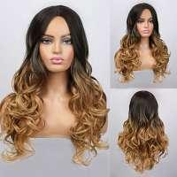Pruik ombre goudblond lang haar met donkere top