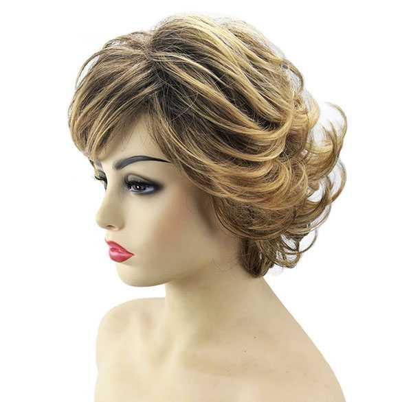 Pruik kort haar met lichte slag natuurlijke kleurmix