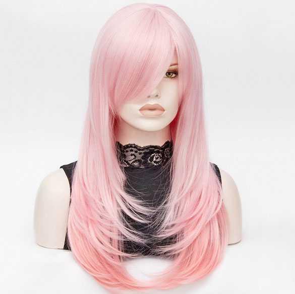 Carnaval pruik lang steil haar in laagjes duo roze