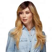 SALE : Pruik lang steil haar honingblond model Hipster