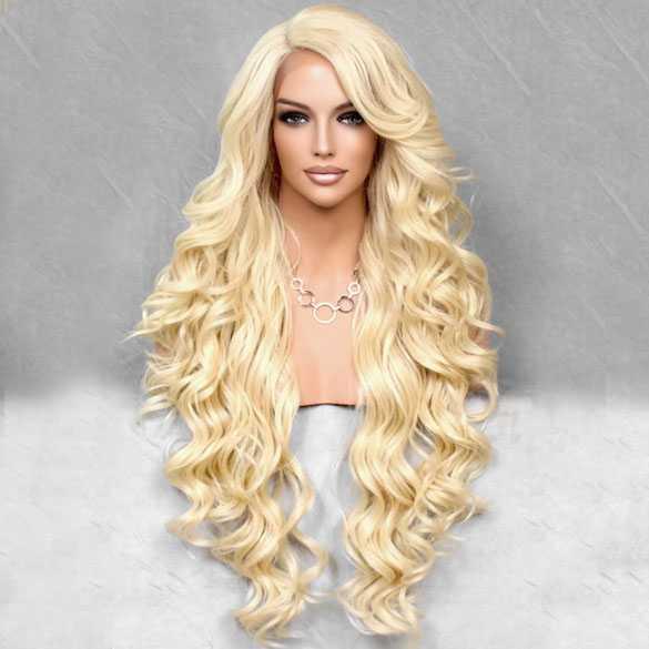Lace pruik lichtblond lang haar zonder pony model Primrose