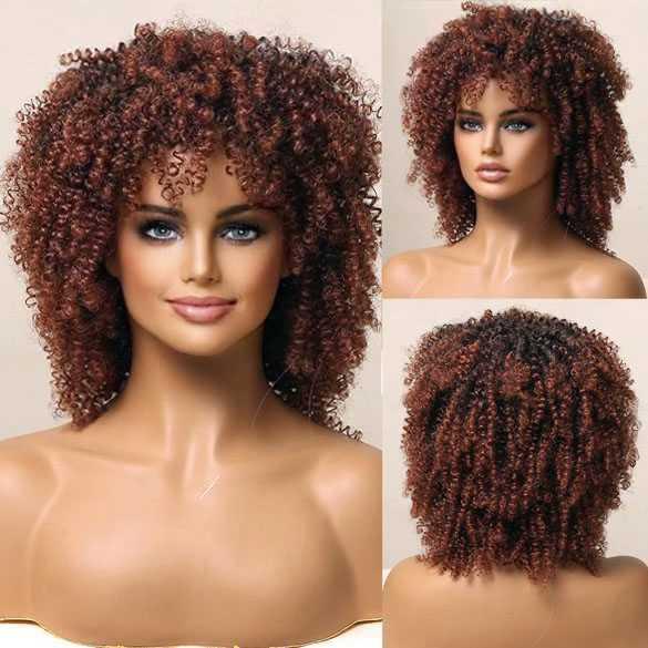 Pruik afro kroes schouderlang haar met mini spiraalkrullen