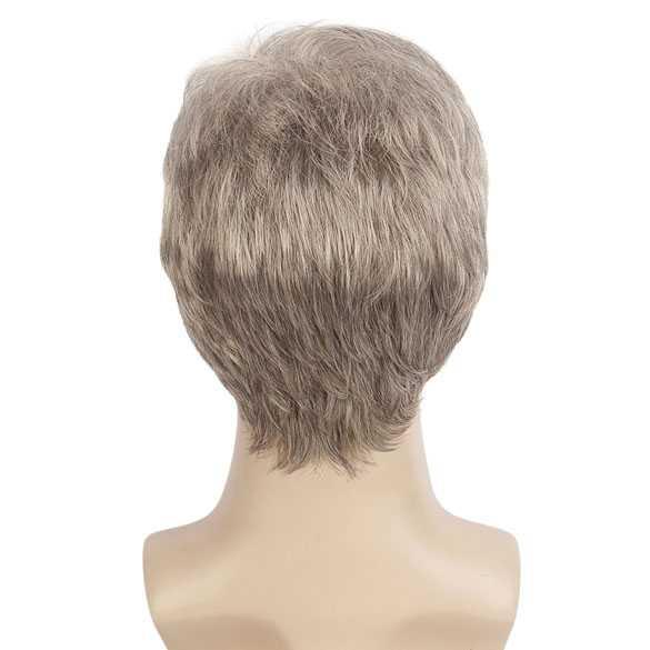 Herenpruik kort haar in laagjes grijsblond mix