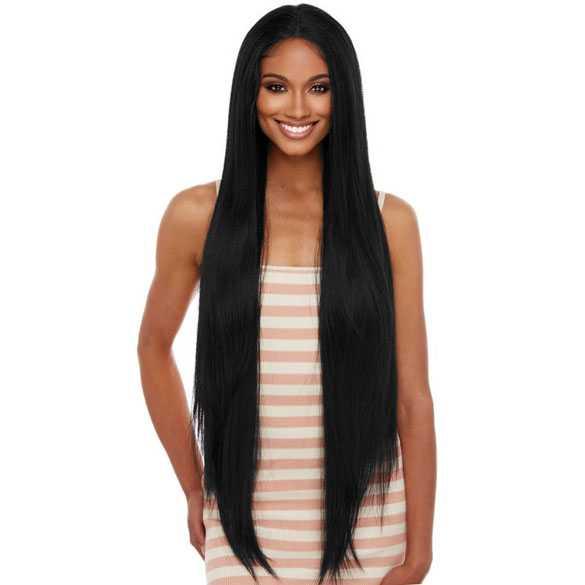 Lace pruik superlang steil zwart haar model Arielle