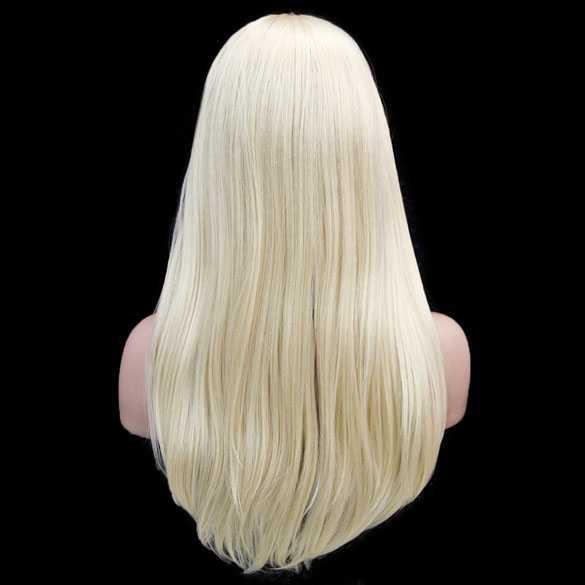 Pruik lichtblond lang steil haar met haarband